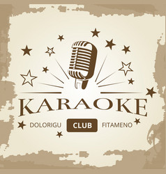 karaoke club banner design - vintage music label vector image