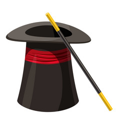 magic hat and wand icon cartoon style vector image