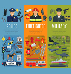 police firefighter and military profession banner vector image vector image