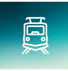 Front view of the train thin line icon vector image