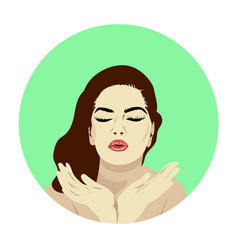 lovely female face beauty icon or sign for vector image