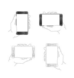 Modern smartphone mockup Mobile phone in hand vector image vector image
