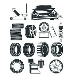 monochrome of tires service symbols vector image vector image