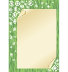 Spring background with a sheet old paper with vector image vector image