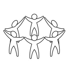 team or friends icon outline style vector image