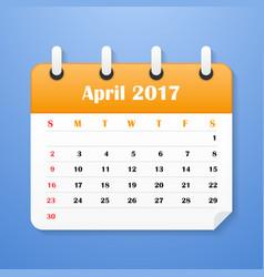 european calendar for april 2017 vector image vector image