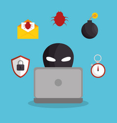 hacking the system concept icons vector image