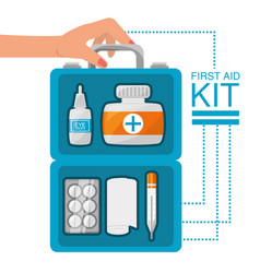 Hand with first aid kit with medical tools vector