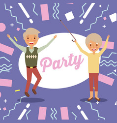 happy cheerful senior couple grandparents jump vector image
