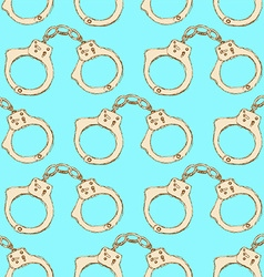 Sketch steel handcuffs in vintage style vector image