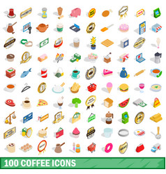 100 coffee icons set isometric 3d style vector
