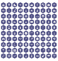 100 kids activity icons hexagon purple vector image