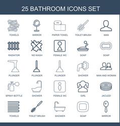 25 bathroom icons vector