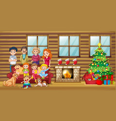 A big family in the living room vector