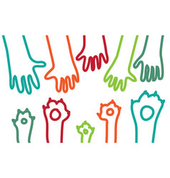 animal pets dog cats paw hand lines symbol rescue vector image