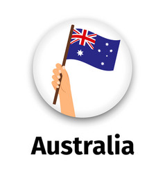 Australia flag in hand round icon vector