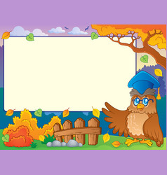 Autumn frame with owl teacher 2 vector