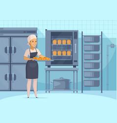 Bakery production cartoon composition vector