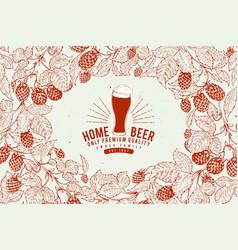 beer hop design template retro beer background vector image