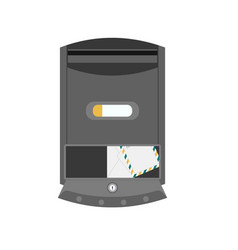 Black post box or mailbox icon vector