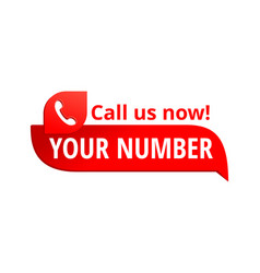 Call us button - template for phone number vector