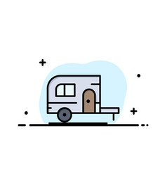 caravan camping camp travel business flat line vector image