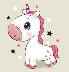 Cartoon unicorn isolated on a beige background vector