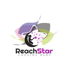 Children reach star logo designdream kids vector
