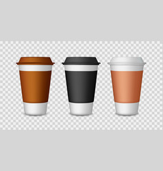 coffee cup paper and plastic mockup mug with vector image