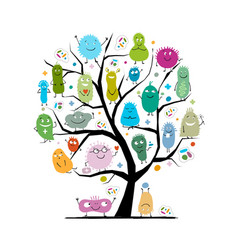 concept family tree for funny and scary vector image
