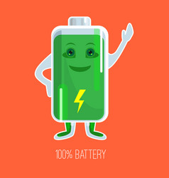 cute full charged battery cartoon character with vector image
