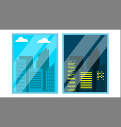 day night window view scene skyscraper vector image