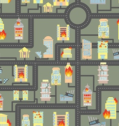 Destroyed city seamless Fire in Business buildings vector image