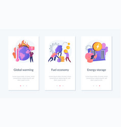 Ecology problems app interface template vector