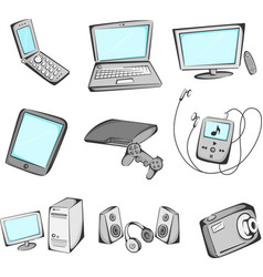 electronics items icons vector image
