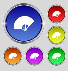 Fan icon sign Round symbol on bright colourful vector