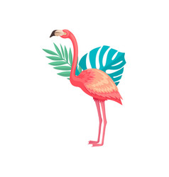 flamingo with green leaves of tropical trees bird vector image