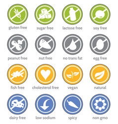 food restriction information label icon set vector image