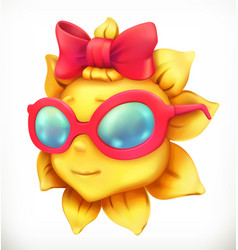 fun summer sun little girl 3d icon vector image