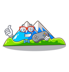 Gamer mountain scenery isolated from the mascot vector