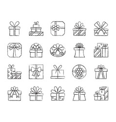 Gift charcoal draw line icons set vector