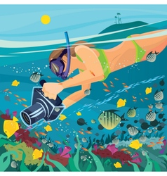 Girl is engaged in underwater photography vector
