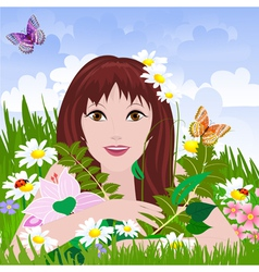girl meadow vector image