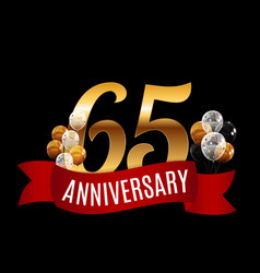 Golden 65 years anniversary template with red vector