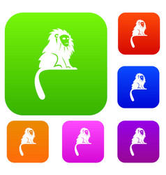 Hairy monkey set color collection vector