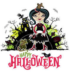 Halloween card girl in vampire costume vector