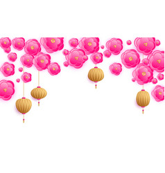 hanging lanterns and paper cut flowers vector image