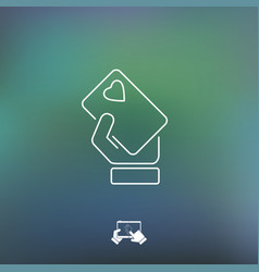 Heart card icon vector