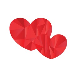Hearts in poly art design vector