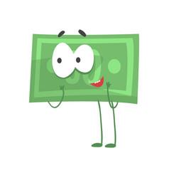 Humanized green dollar standing vector